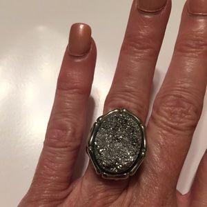 Jewelry - Platinum Drusy Quartz Bamboo Style Ring